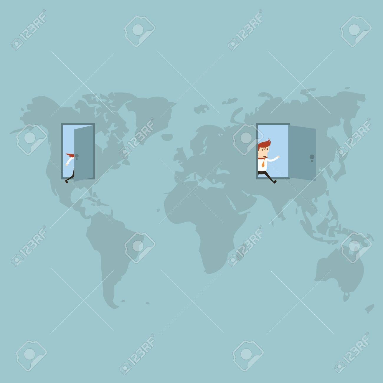 Open the door to the world Stock Vector - 20958266