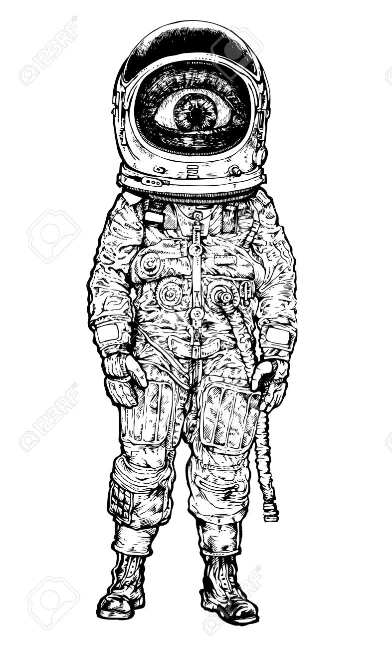 amazement astronaut. vector illustration - 8785870