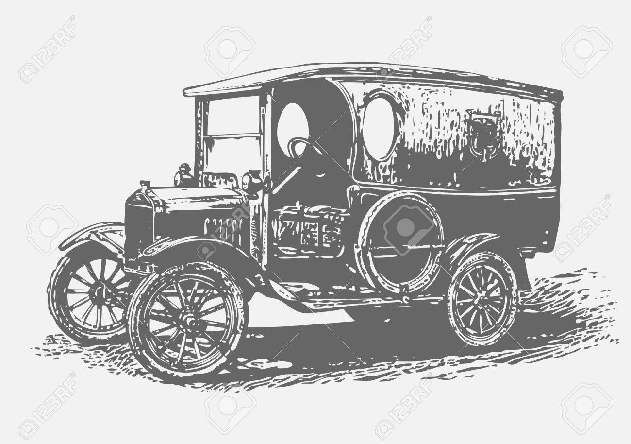 retro automobile, graffiti style, vector illustration Stock Vector - 8920440