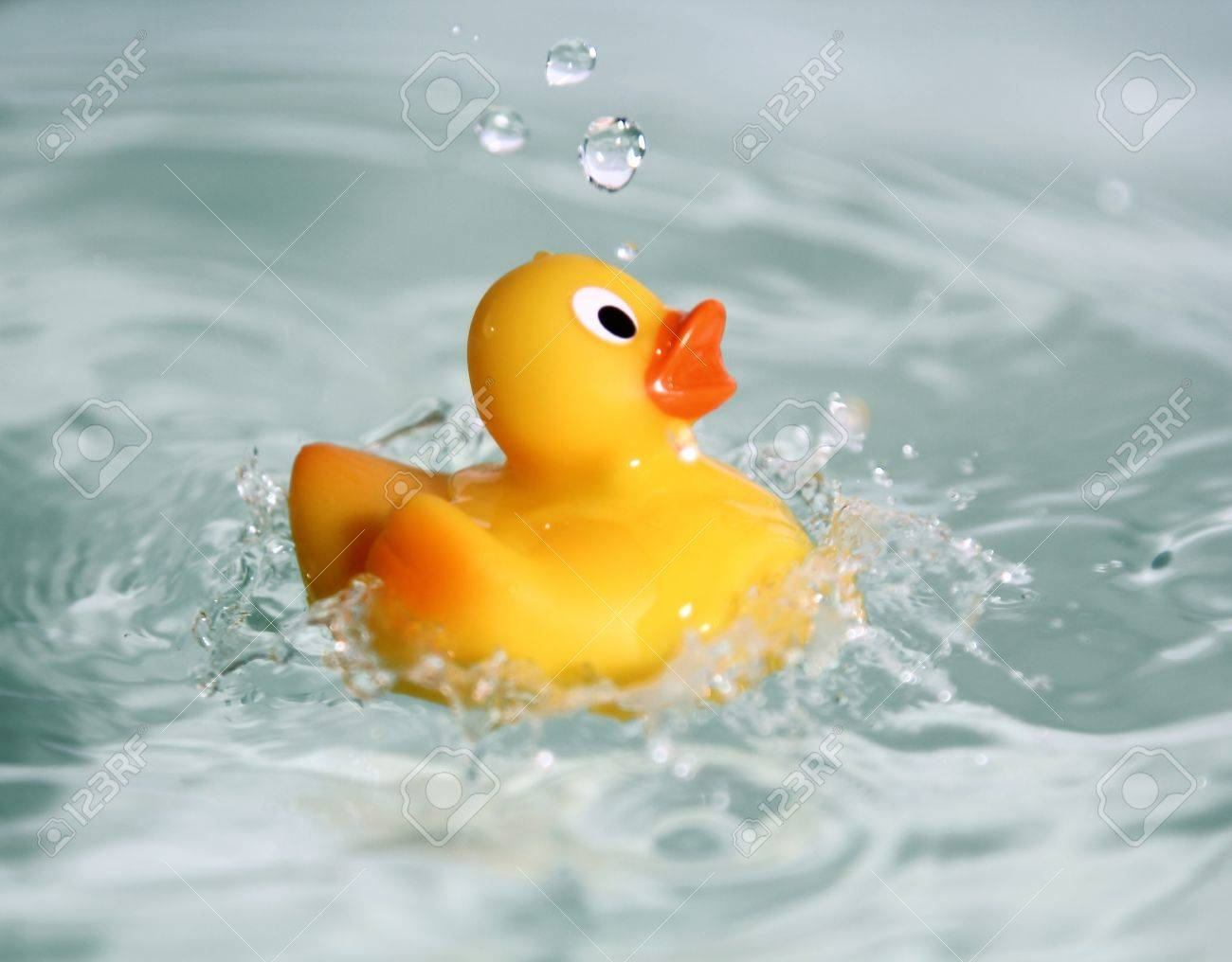 yellow rubber toy duck swimming in water Stock Photo - 10105690