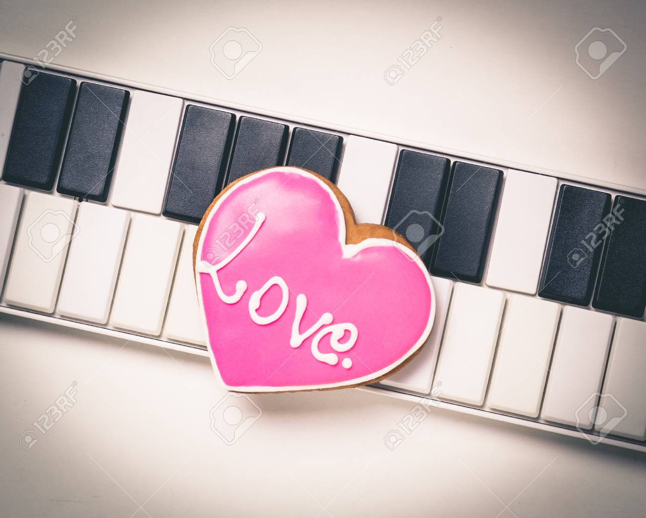 Love Heart On Music Keyboard For Valentines And Music Love Pink