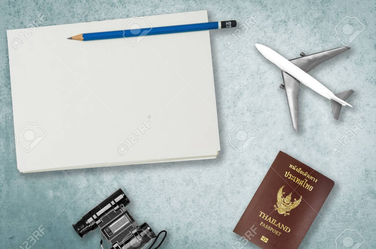 Travel Vacation objects background with blank notebook for travel