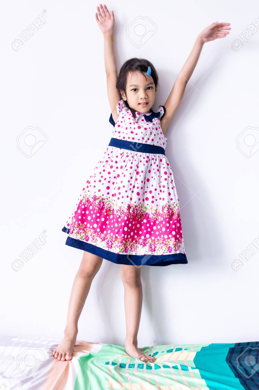 6f9181405 Little Asian Girl Portrait In Sweet Vintage Dress Stock Photo ...