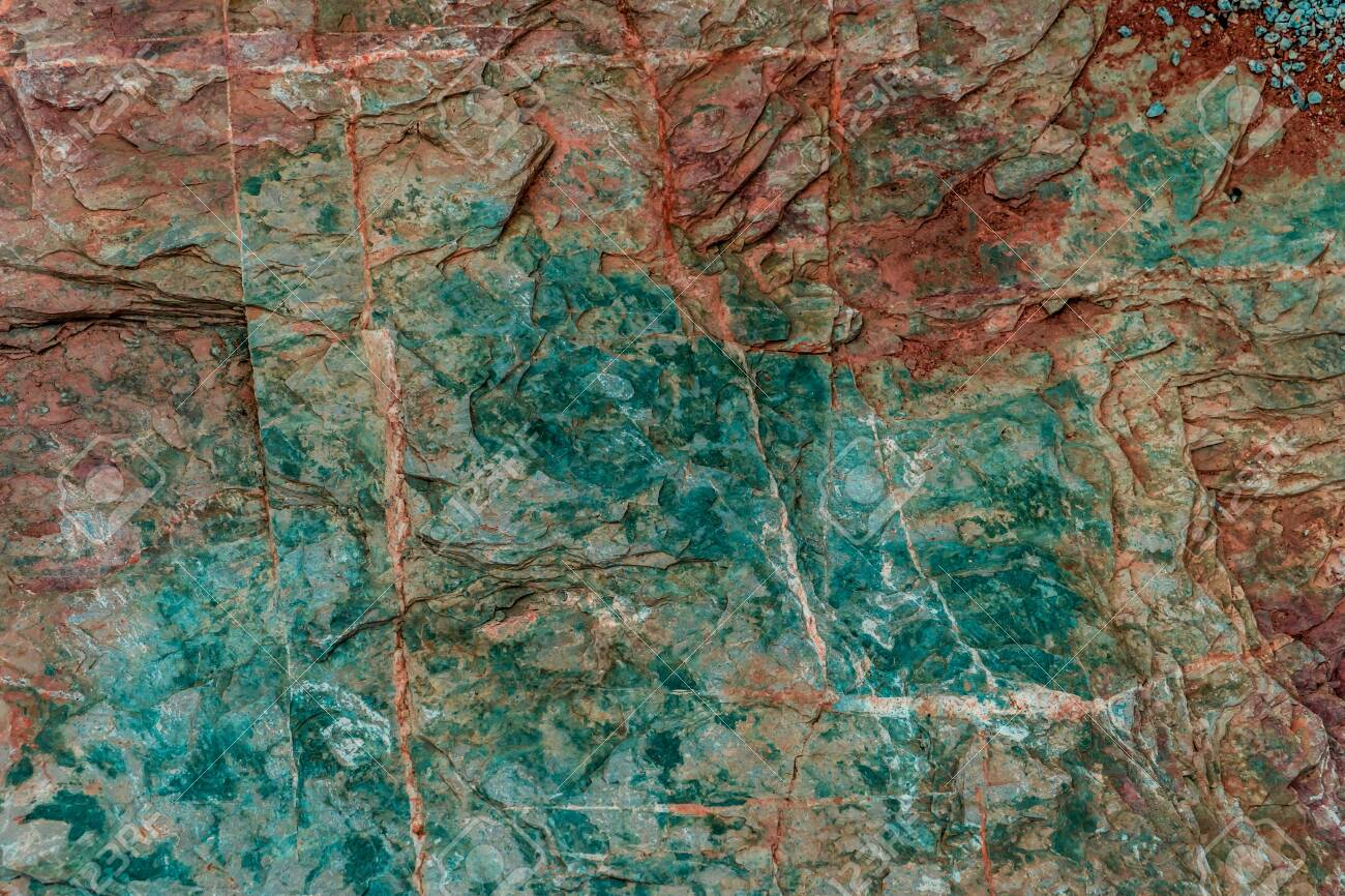Green and red Rock colorful texture geology for texture and background design. - 125958484