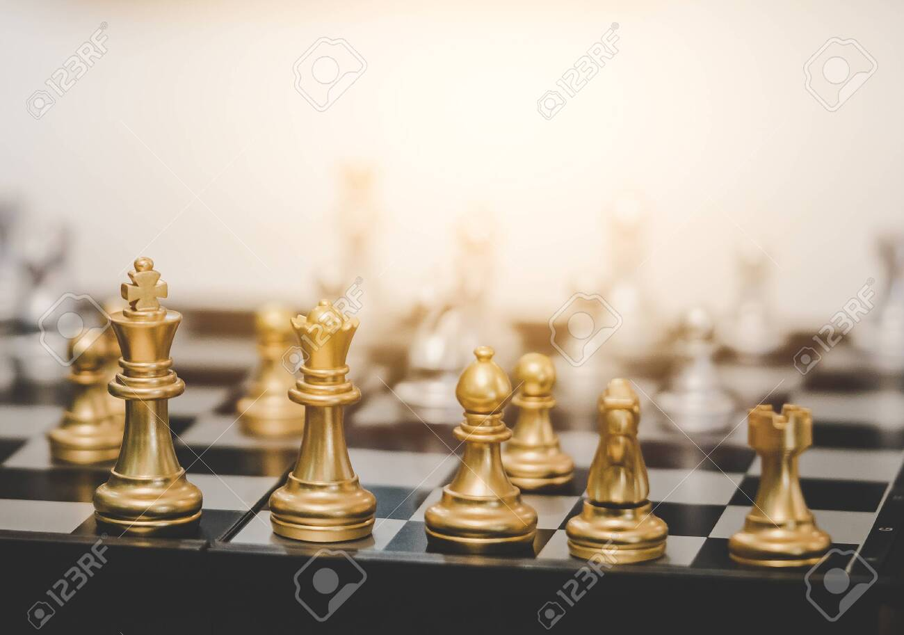 Golden Chess board game for business planning for business strategy concept - 131549490