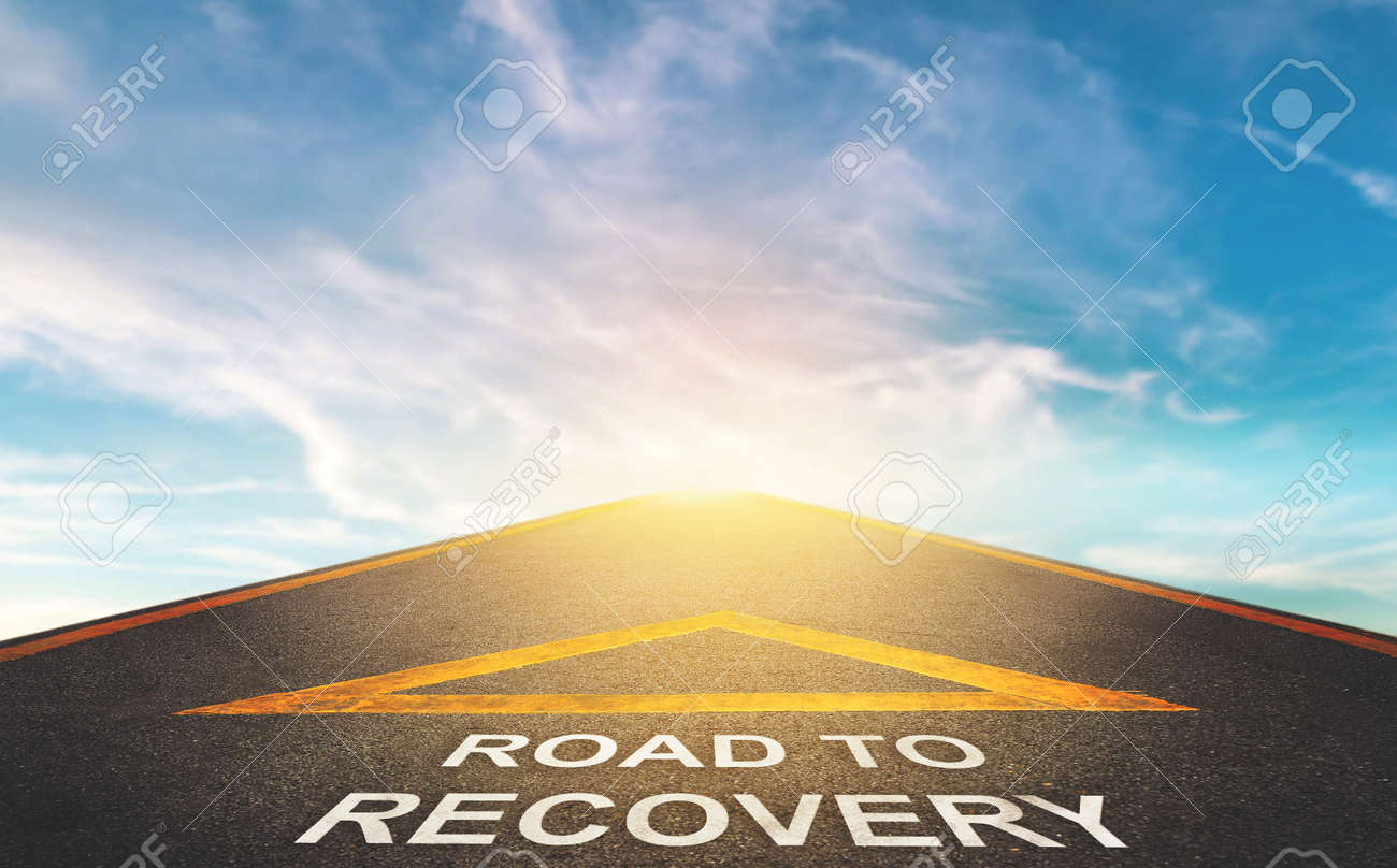 Road to recovery concept for business and health concept with Blue cloud sky background. - 156008331