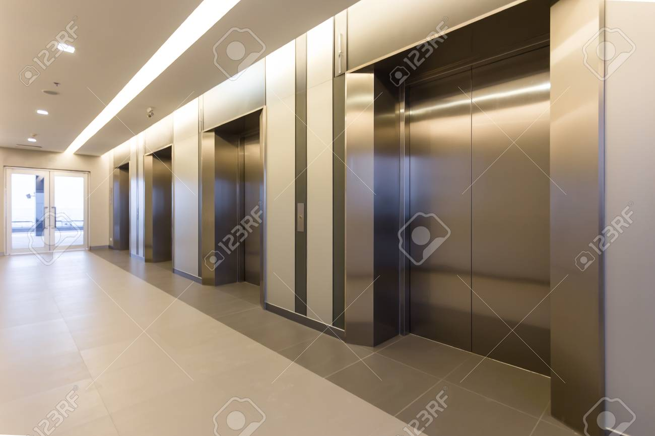 Perfect Modern Steel Elevator Cabins In A Business Lobby Or Hotel, Store, Interior,  Office