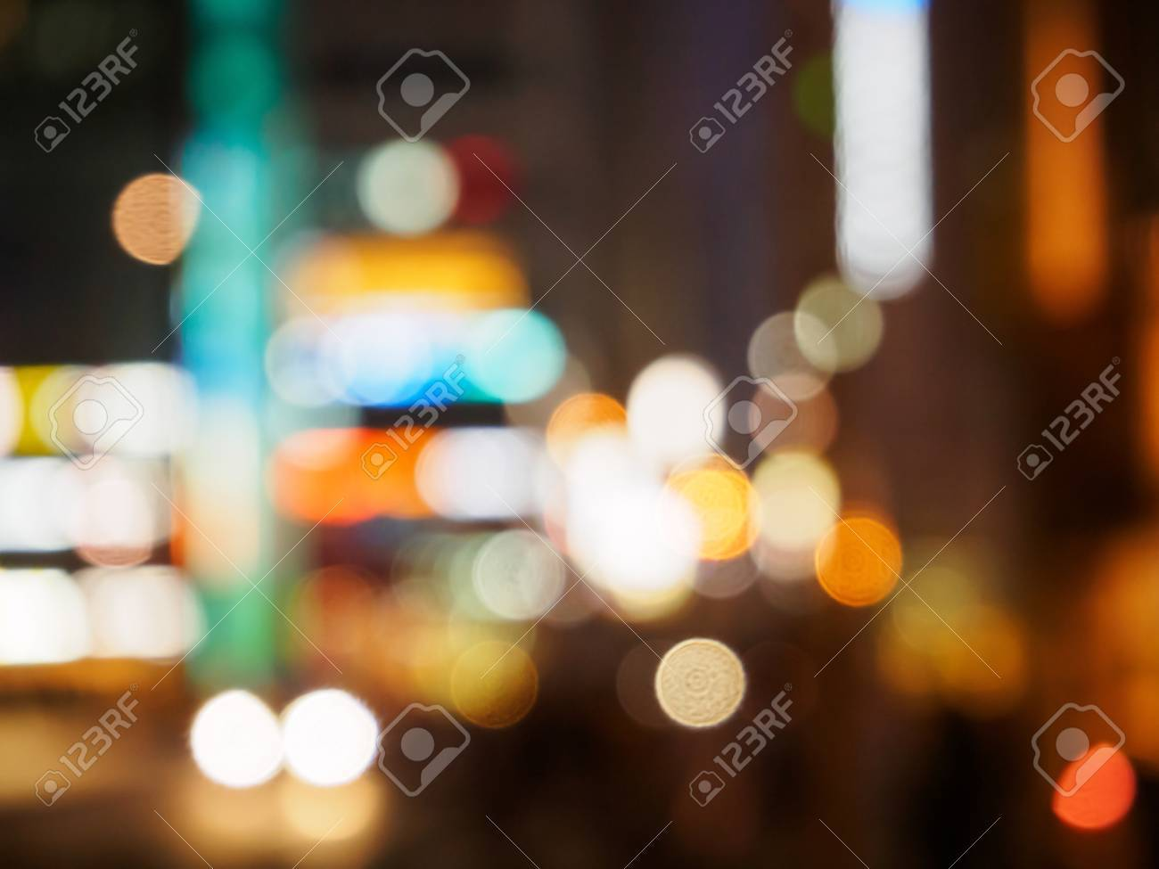 Blurry Of The Traffic Lights Street View Bokeh Night Life Stock