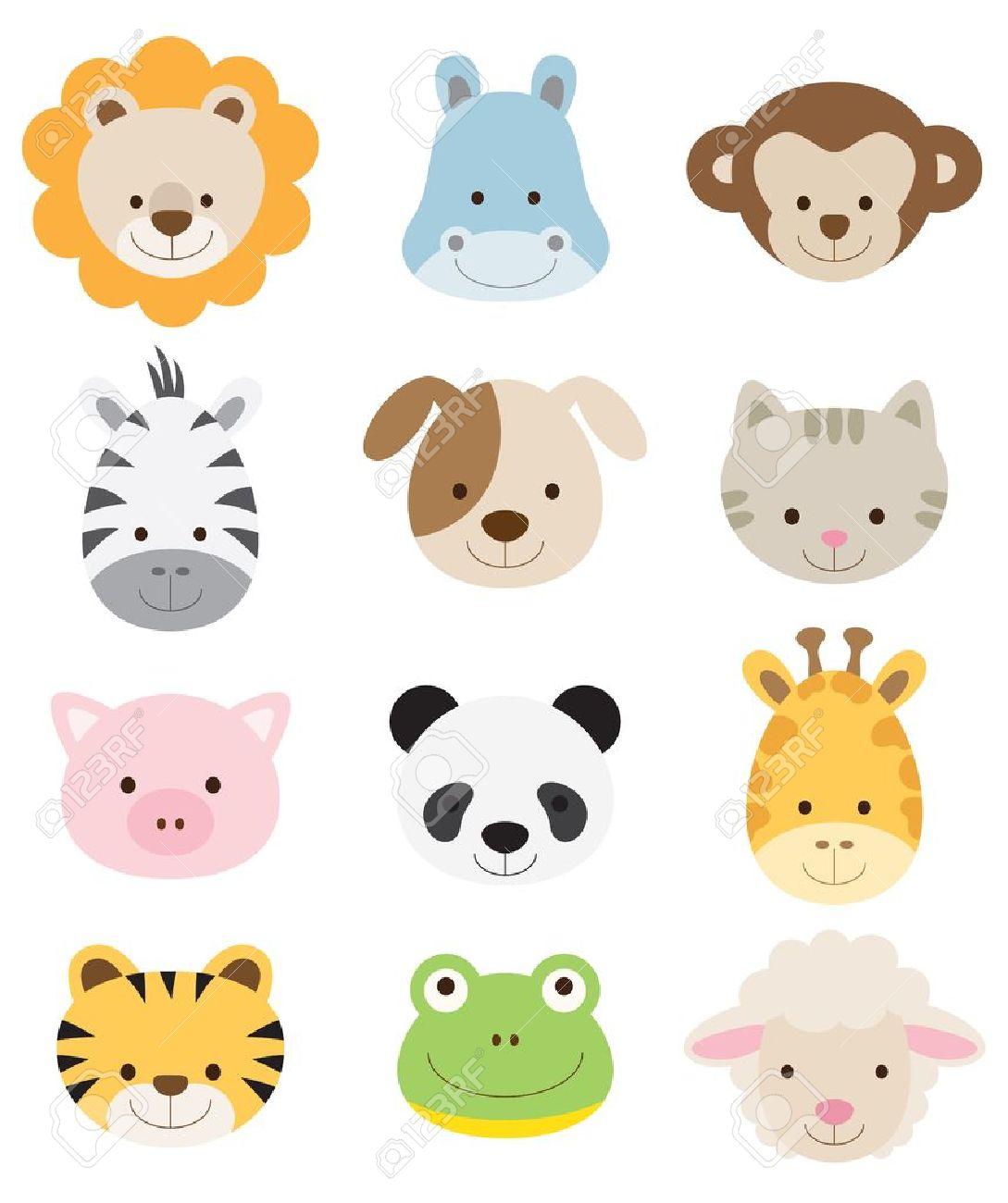 ライオン、カバ、猿、シマウマ、犬、猫、豚、パンダ、キリン、タイガー