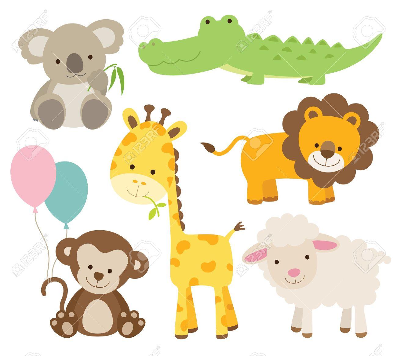 かわいい動物セット コアラ、ワニ、キリン、サル、ライオン、羊などの