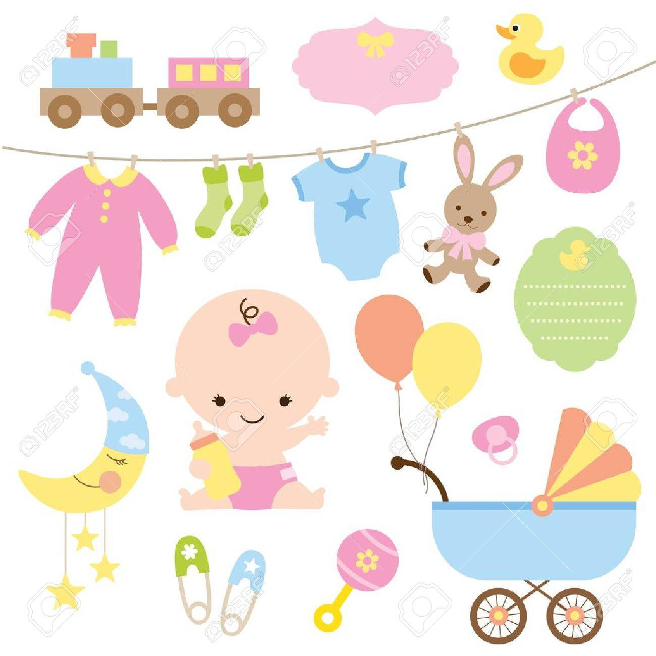 Vector illustration of baby and related items - 20562079