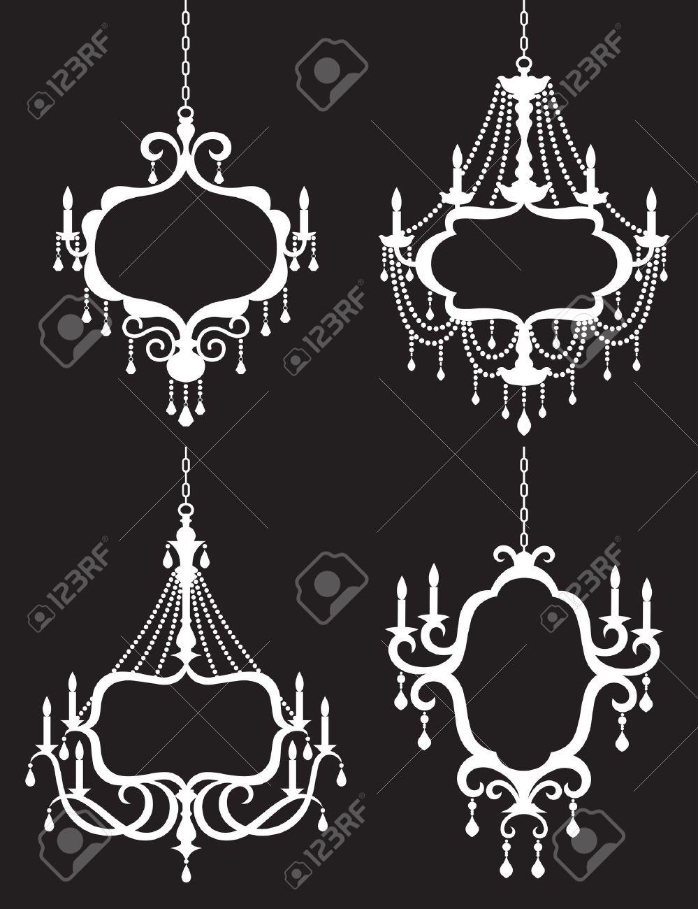 Vector illustration of chandelier frame set - 20562075