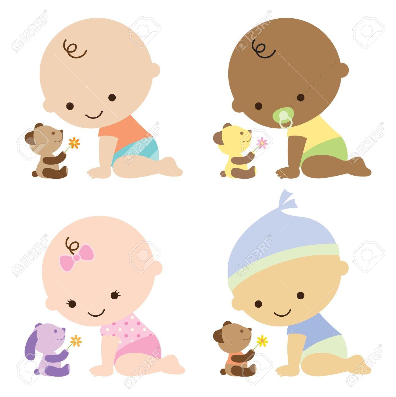 赤ちゃん男の子とかわいいテディベアと赤ちゃんの女の子のイラスト