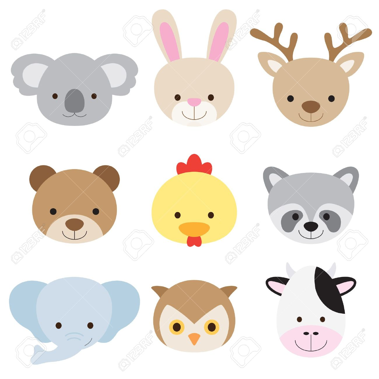 Vector illustration of animal faces including koala, rabbit, deer, bear, chicken, raccoon, elephant, owl, and cow Stock Vector - 21598607