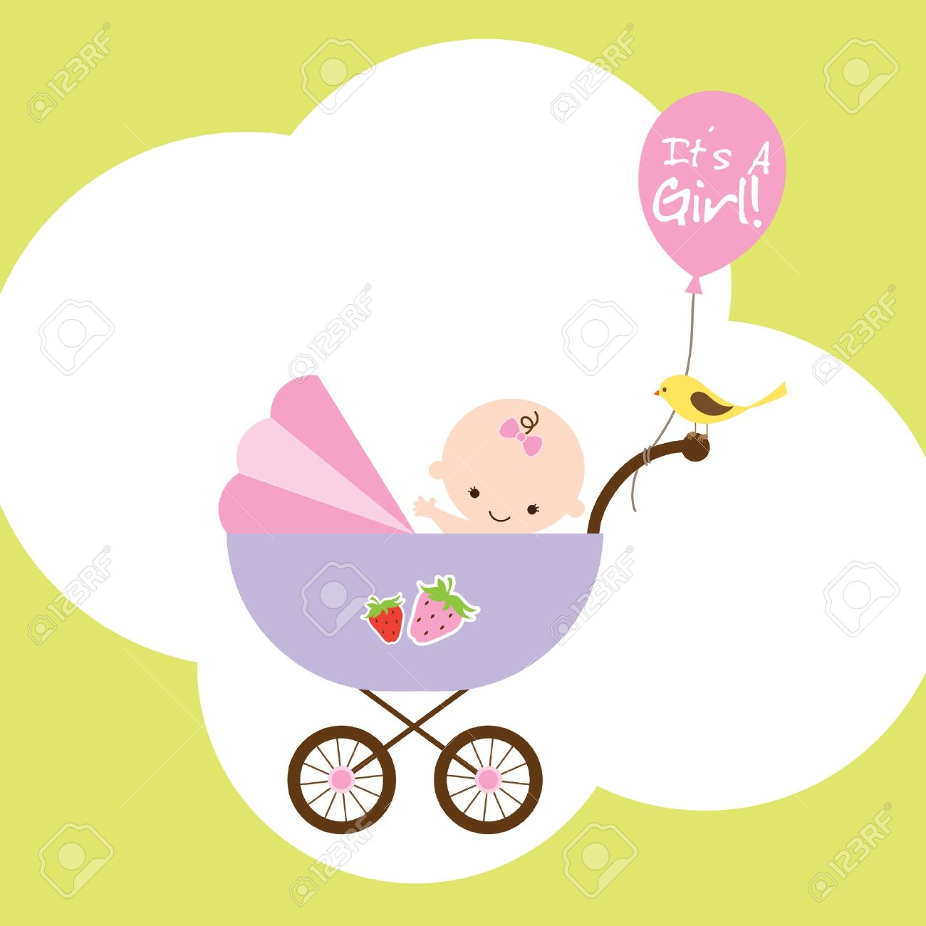 Vector illustration of a happy baby girl in stroller - 21611784