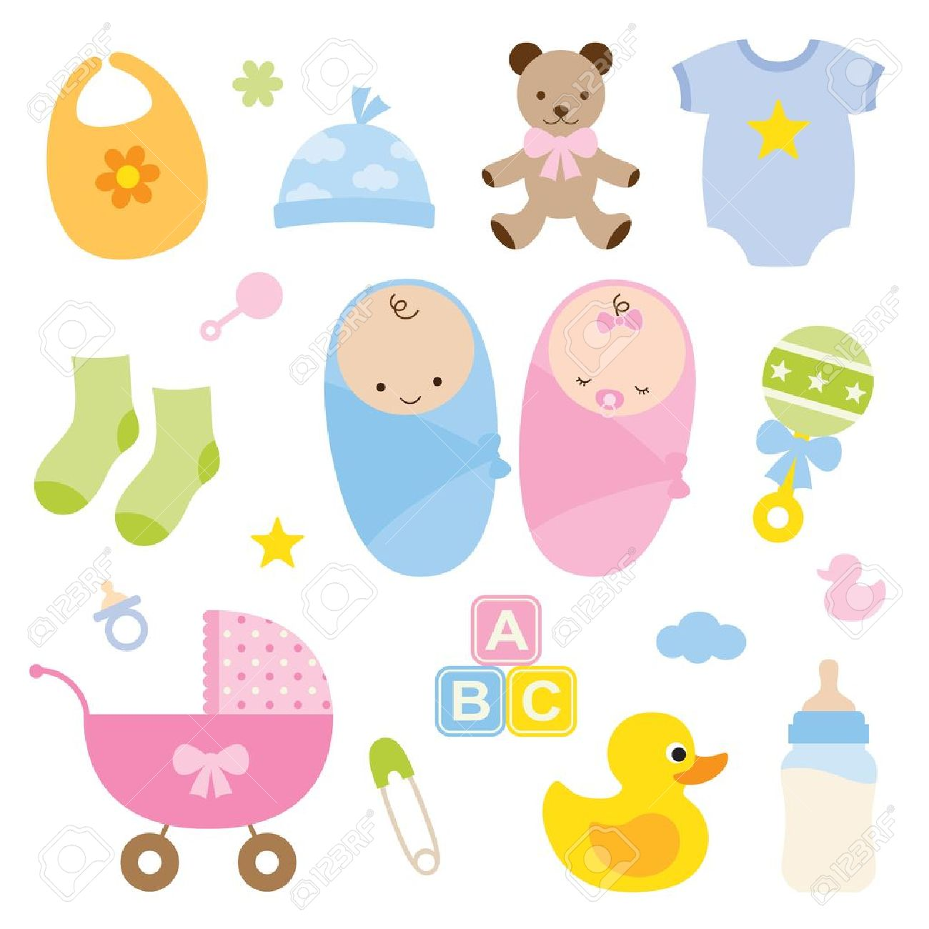 Vector illustration of babies and baby products - 21657303