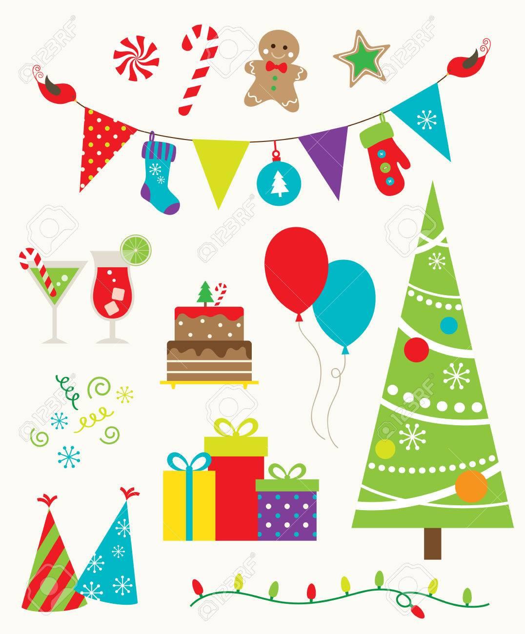 クリスマス パーティーのためのデザイン要素のベクトル イラスト