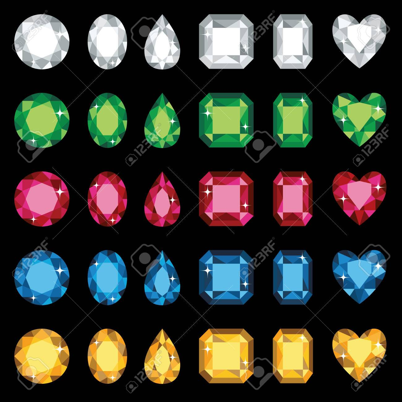 Vector illustration of colorful gemstones in six different shapes - 25436256