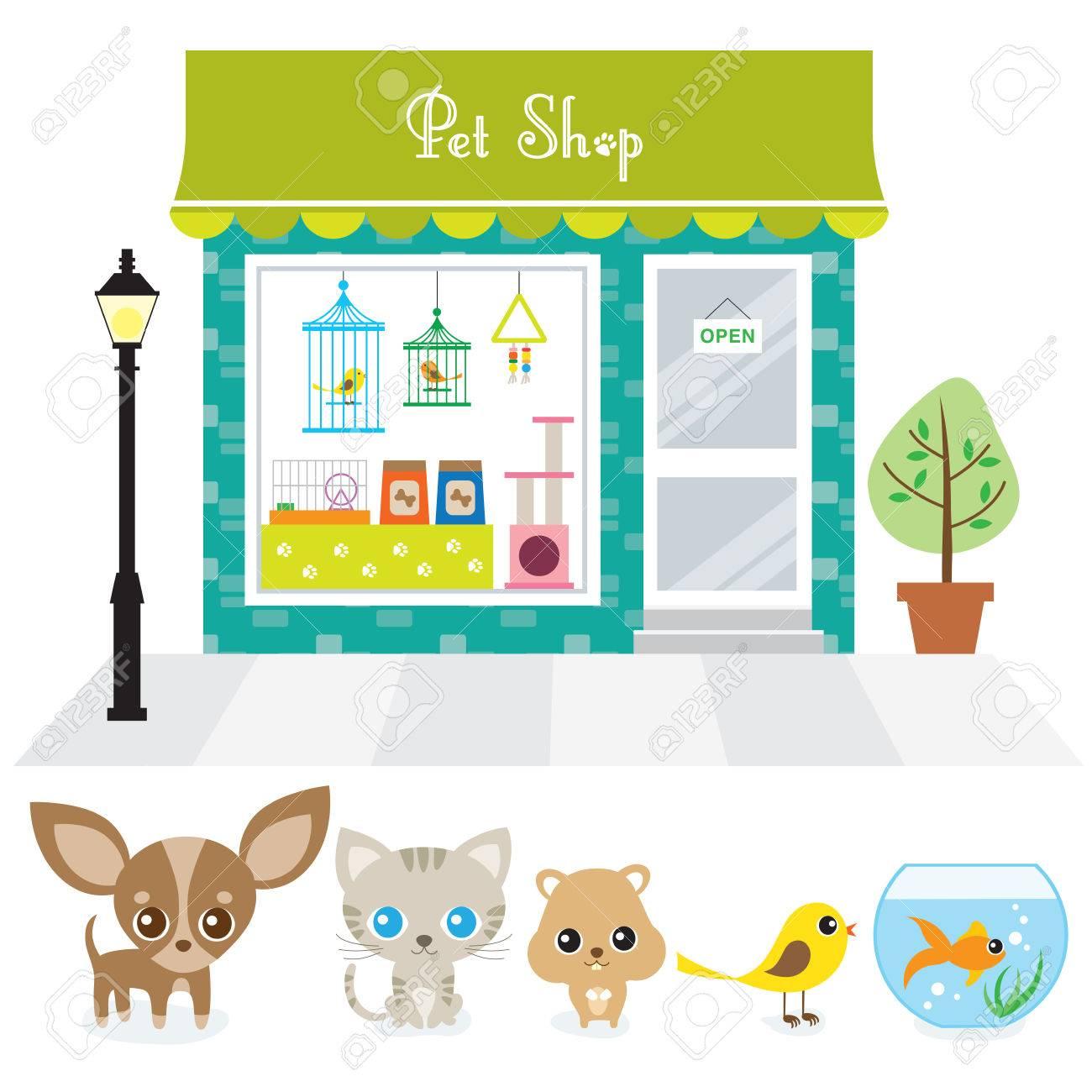 犬猫ハムスター鳥および金の魚とペット ショップのベクトル