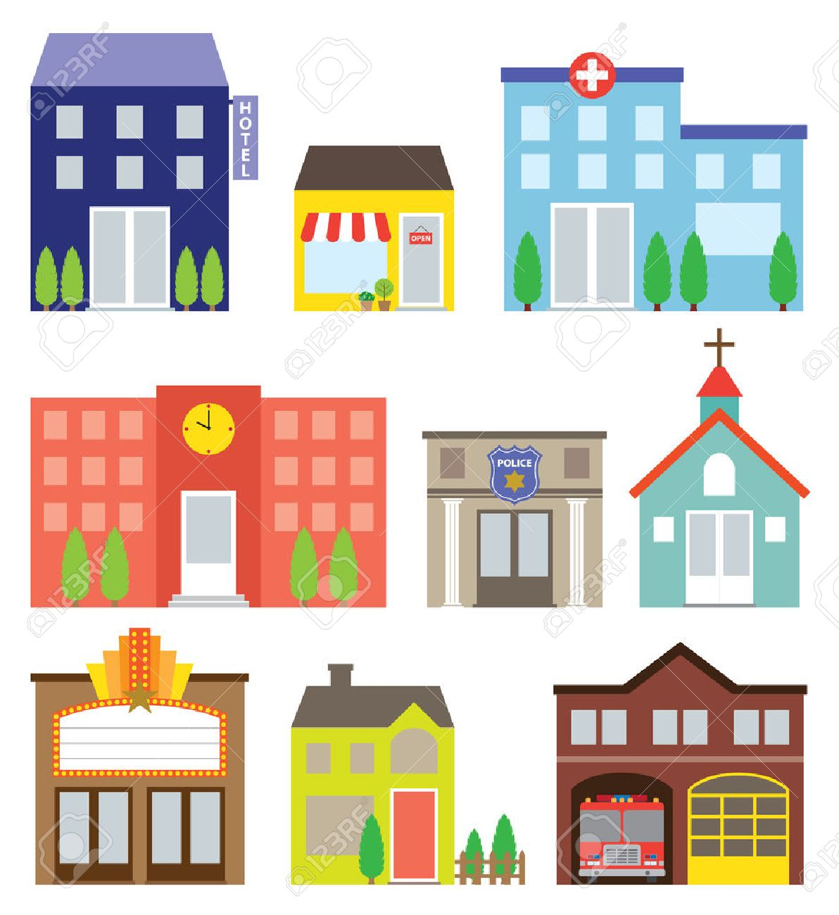 illustration of buildings including store, hotel, hospital, school, police station, church, movie theater, house and fire station - 27507087
