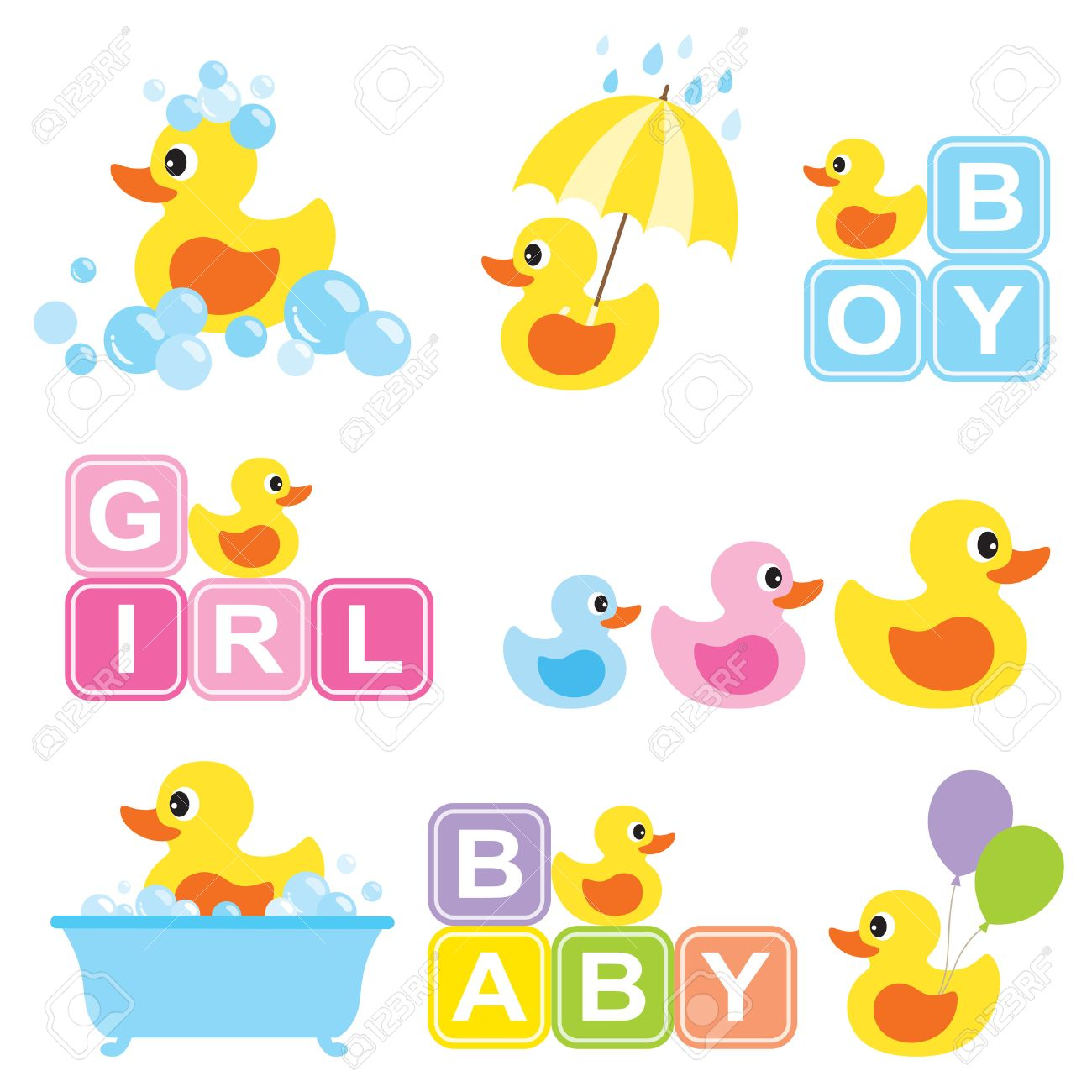 Vector Illustration Of Yellow Rubber Duck For Baby Shower. Royalty ...