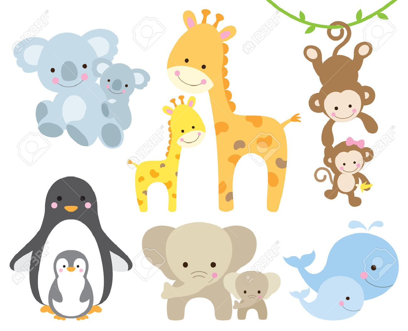 Vector illustration of animal and baby including koalas, penguins, giraffes, monkeys, elephants, whales. Stock Vector - 46792877