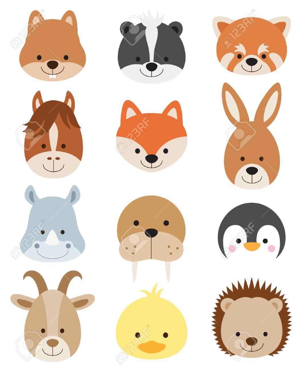Vector illustration of animal faces including squirrel, hamster, skunk, red panda, horse, fox, kangaroo, rhino, walrus, penguin, goat, duck, and hedgehog. Stock Vector - 47809073