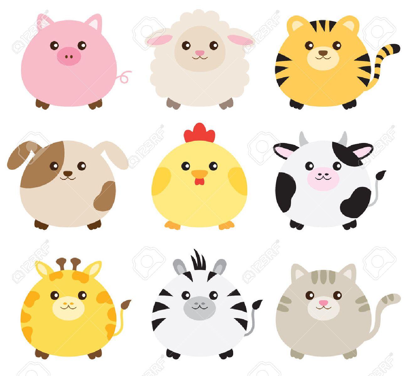 illustration of  animals including pig, sheep, tiger, dog, chicken, cow, giraffe, zebra and cat. Stock Vector - 51331478