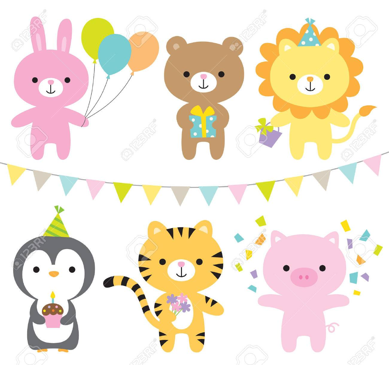 illustration of animals including rabbit, bear, lion, penguin, tiger, and pig at party. - 55110175