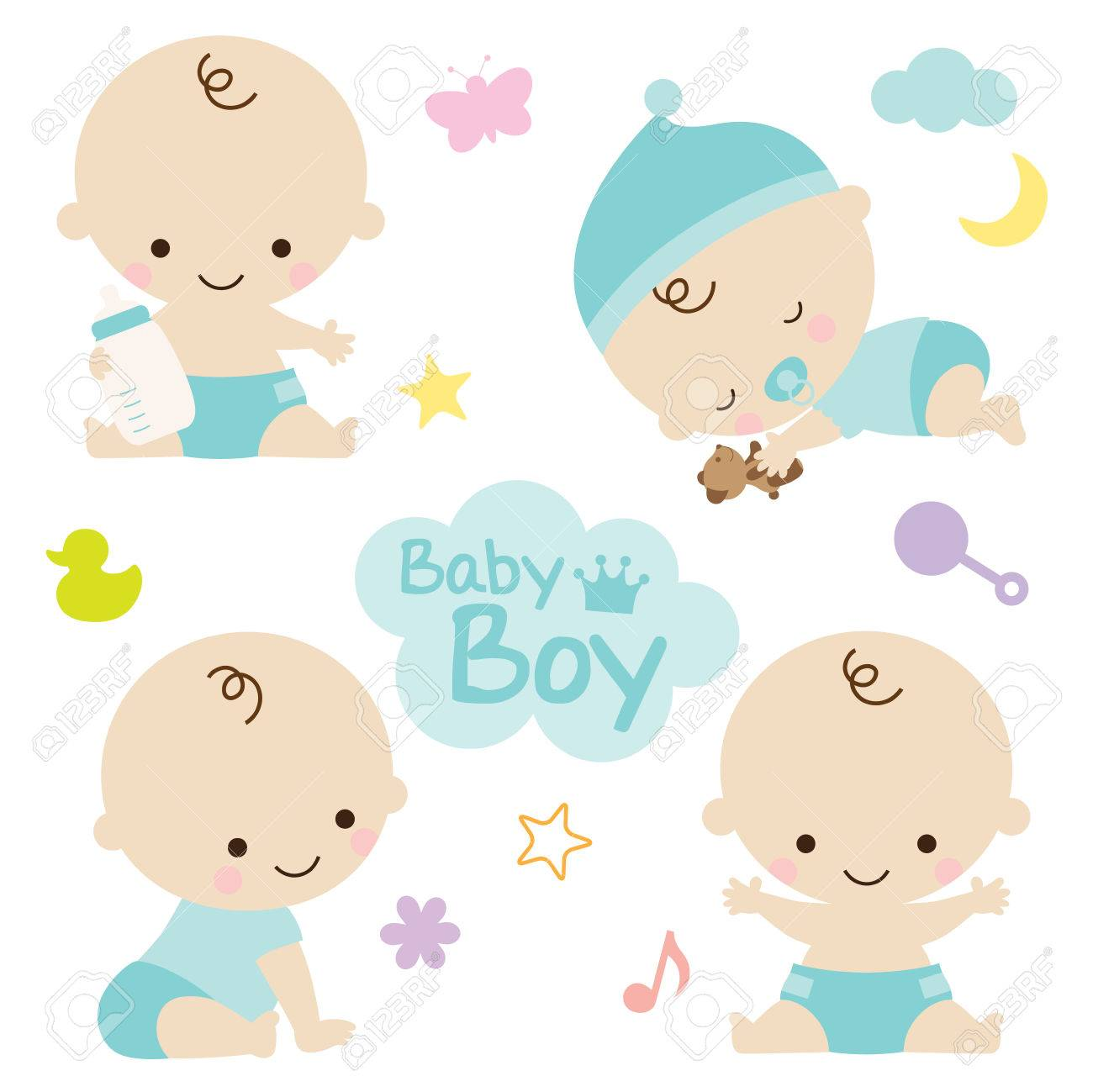 Vector illustration of baby boy with cute graphic elements. Perfect for baby shower. - 74266338