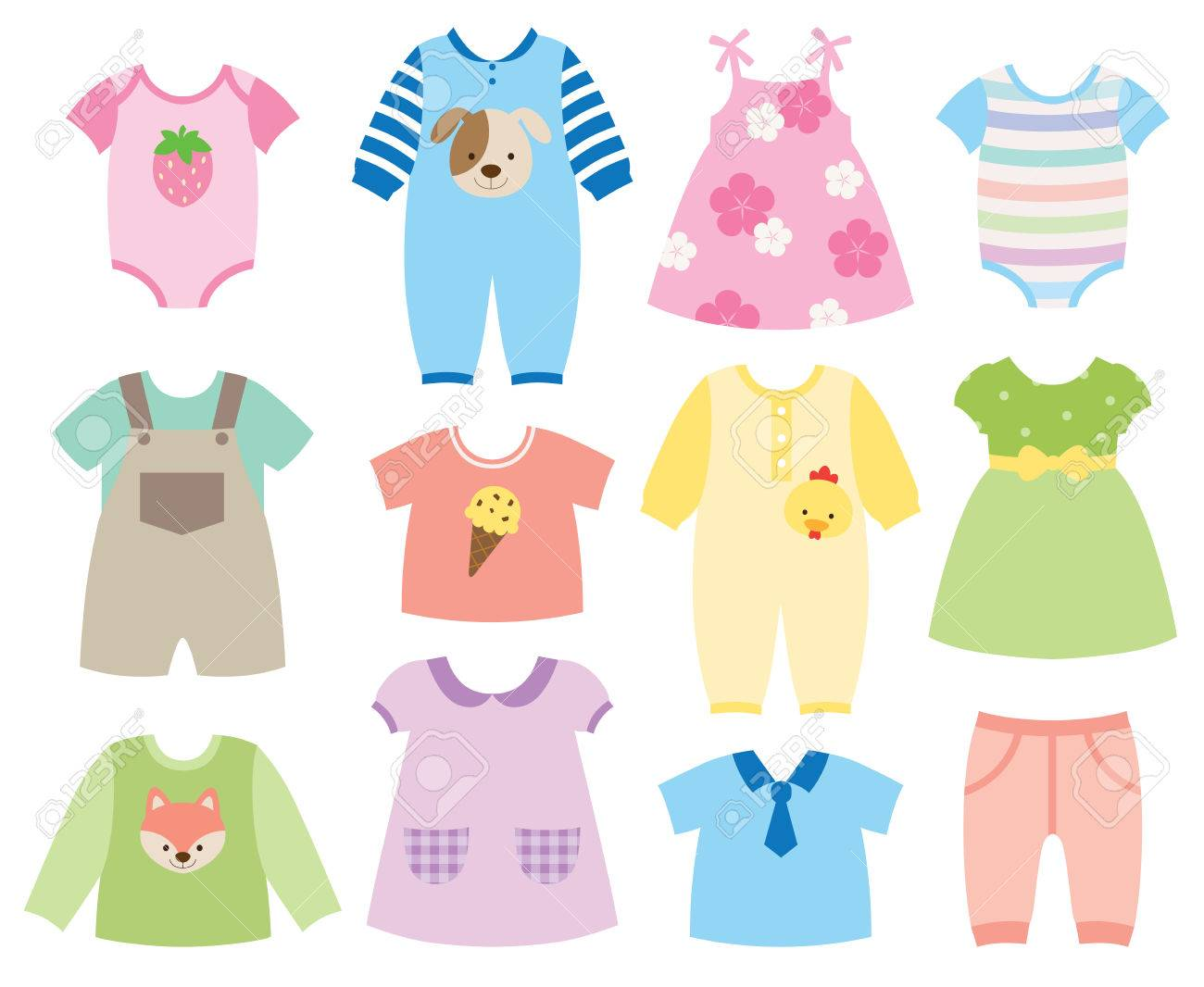 Vector Illustration Of Baby And Children Clothes Collection Royalty