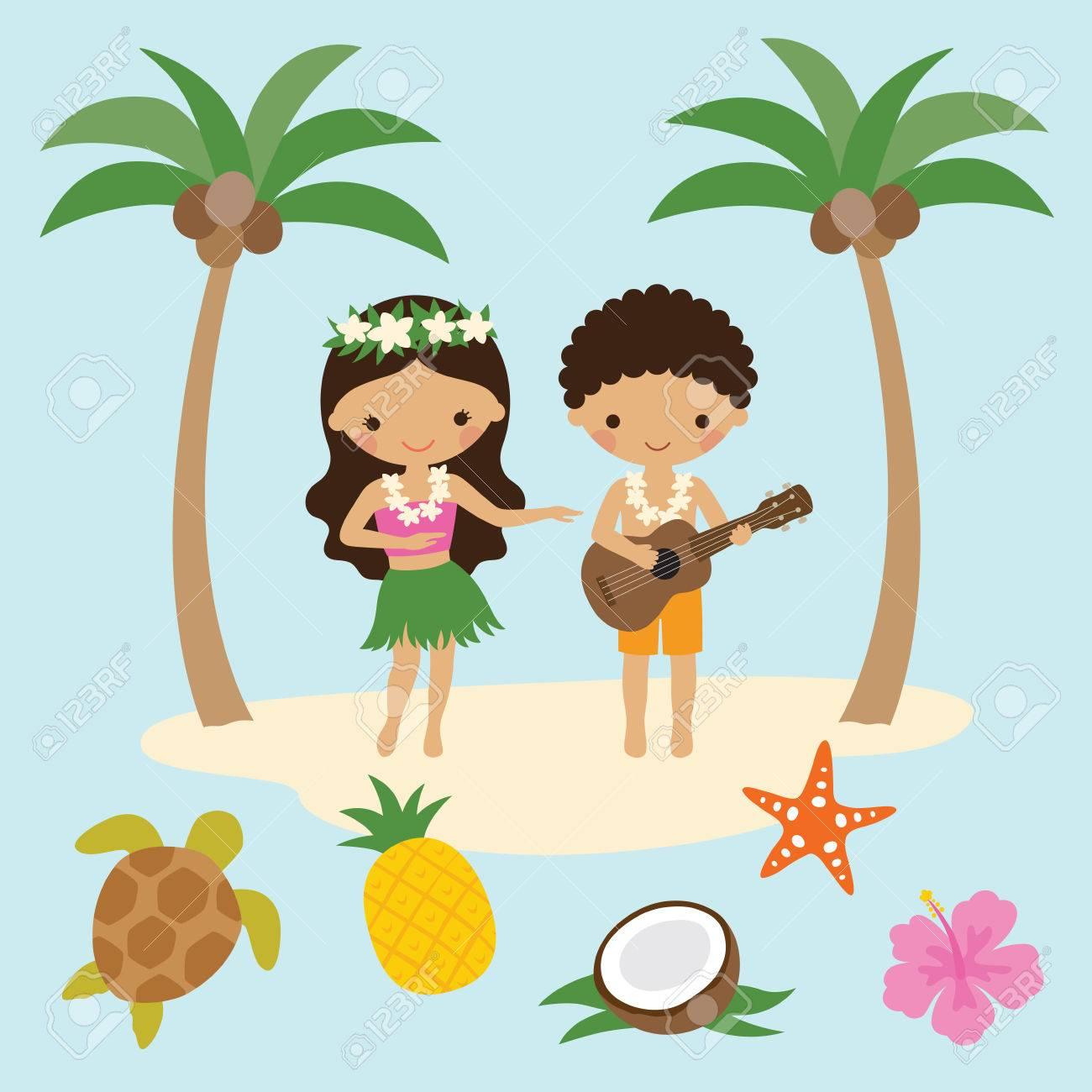 Ilustración Vectorial De Niña Hula Bailarina Y Niño Tocando Ukulele Guitarra En Hawai Con Elementos De Playa. Ilustraciones Vectoriales, Clip Art Vectorizado Libre De Derechos. Image 79509641.