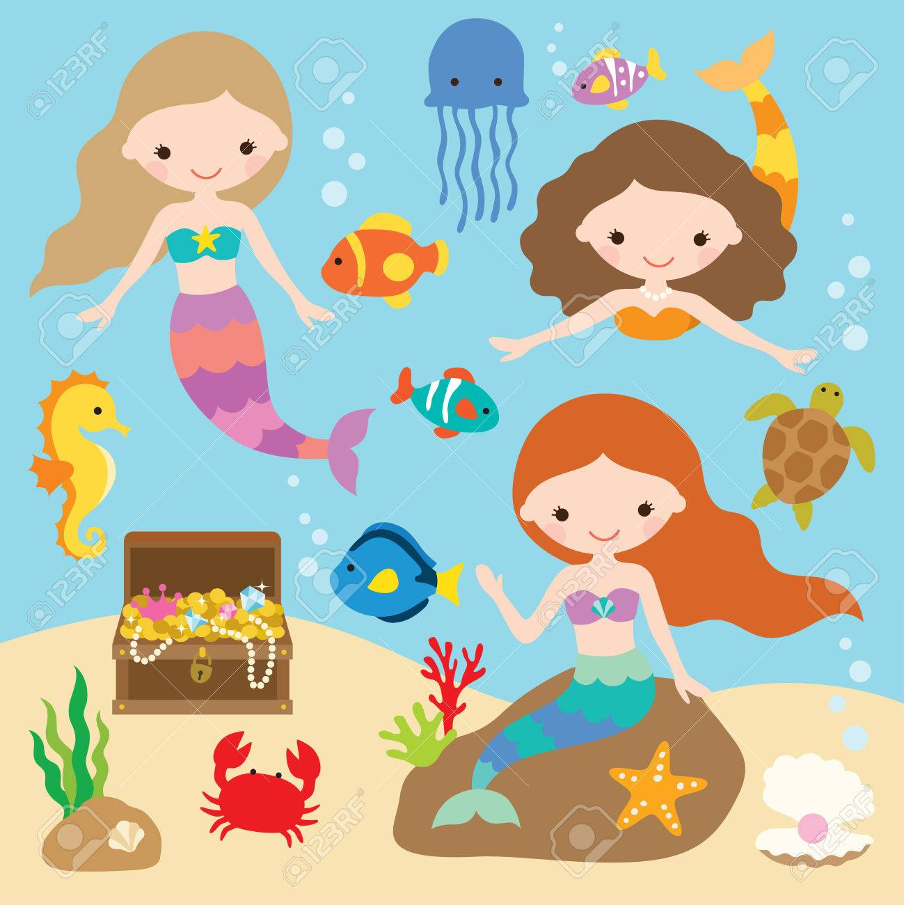 Vector illustration of cute little mermaids with fishes, jellyfish, starfish, crab, turtle, seahorse, shells, and treasure chest under the sea. - 80629955