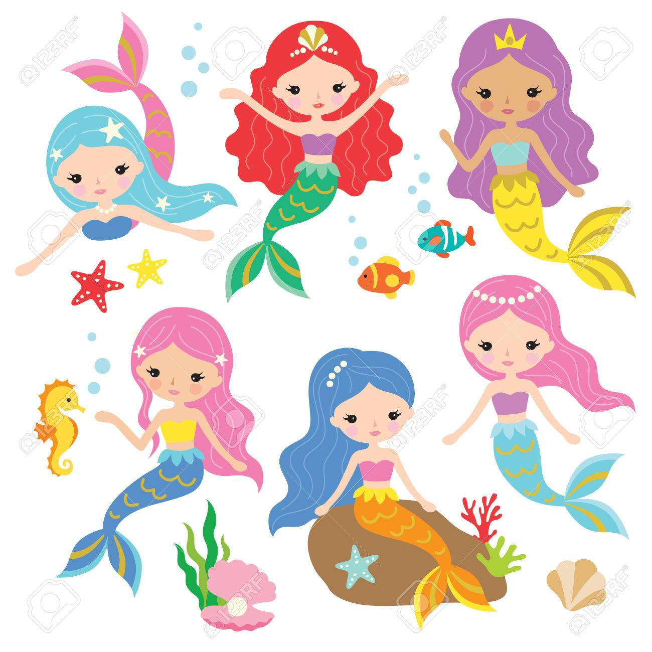 かわいい人魚海要素の下でカラフルな髪の姫などのベクター イラストです