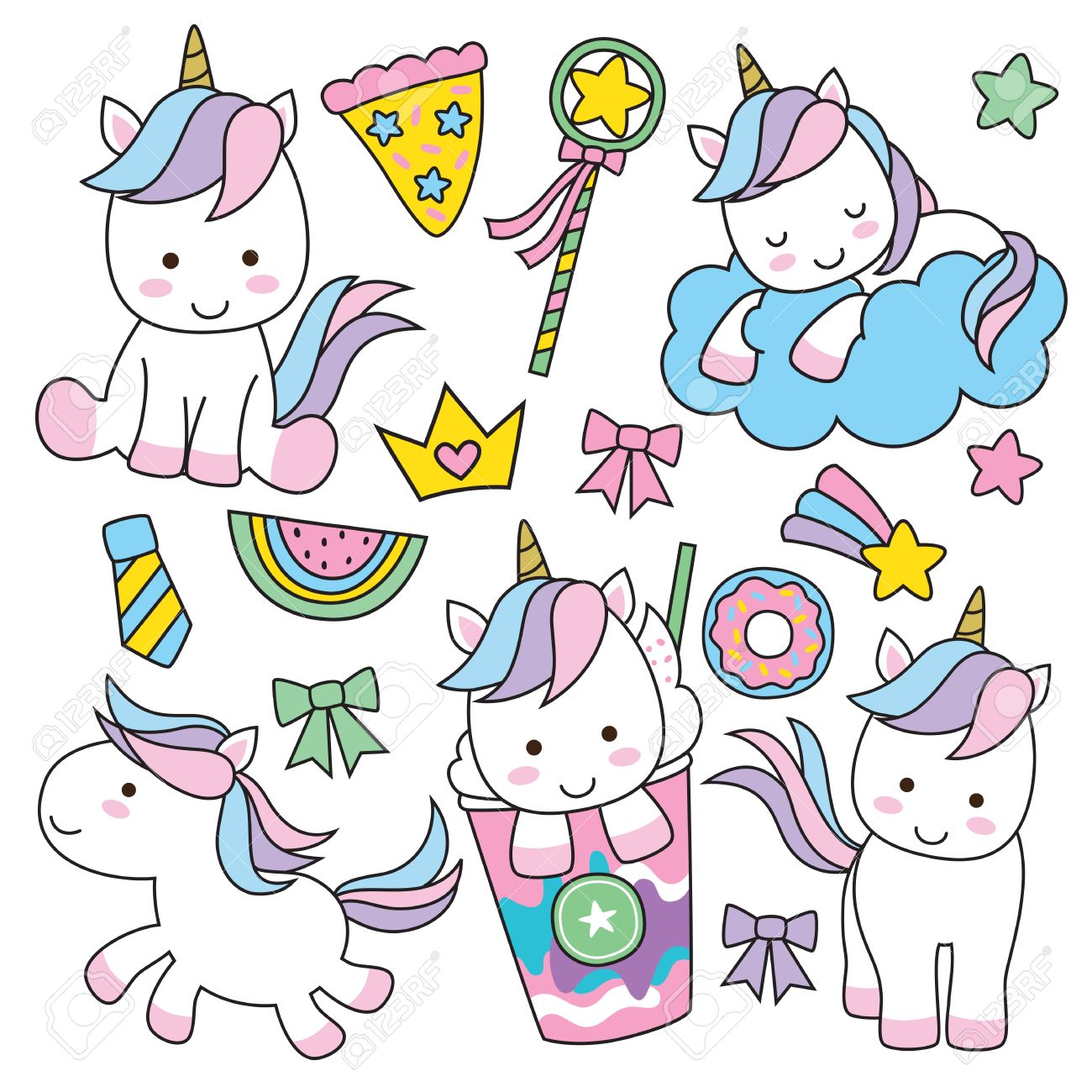 Cute Baby Unicorn Vector Illustration In Pastel Rainbow Colors Stock