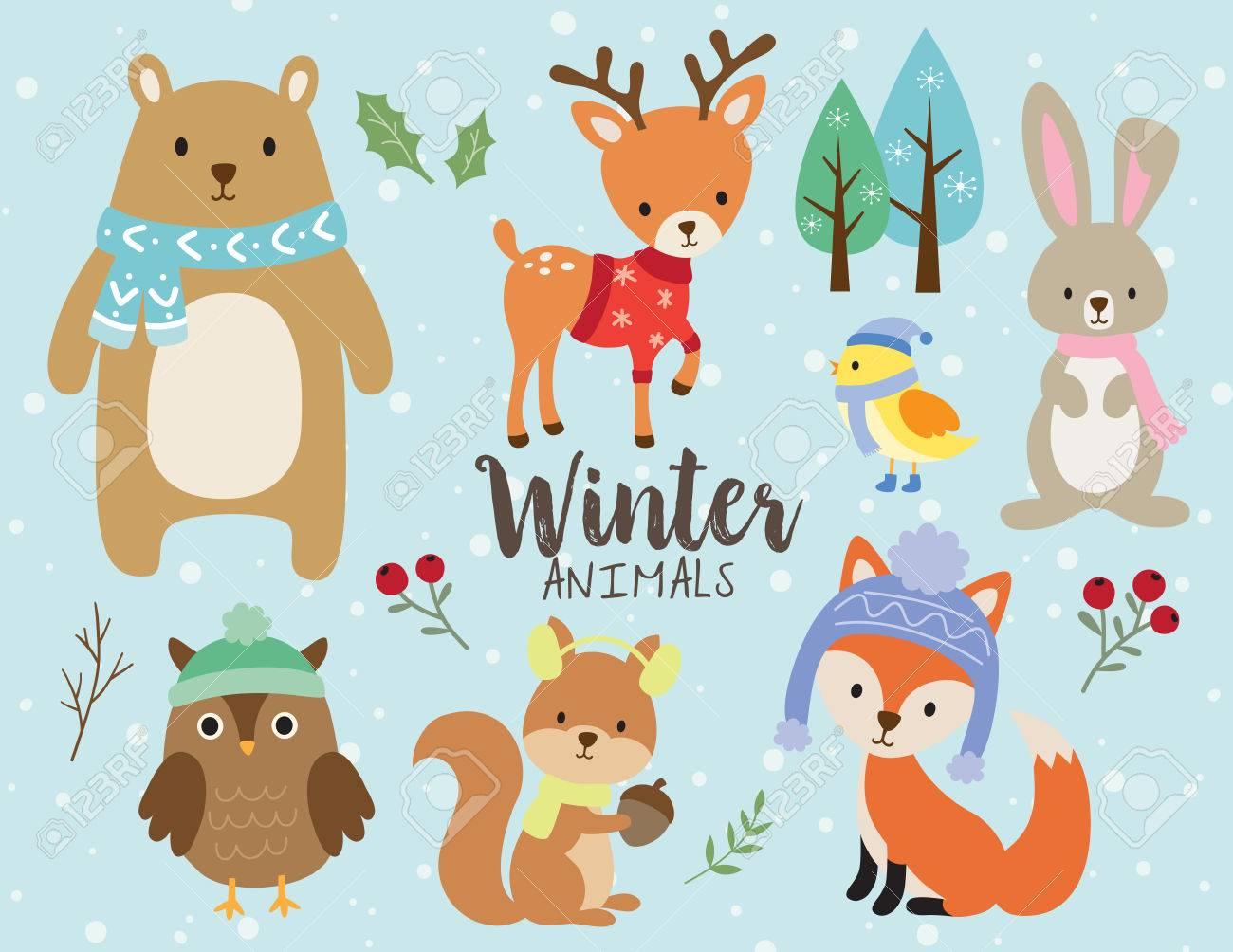 熊、鹿、ウサギ、ウサギ、フクロウ、リス、鳥、フォックスの冬の服装を身