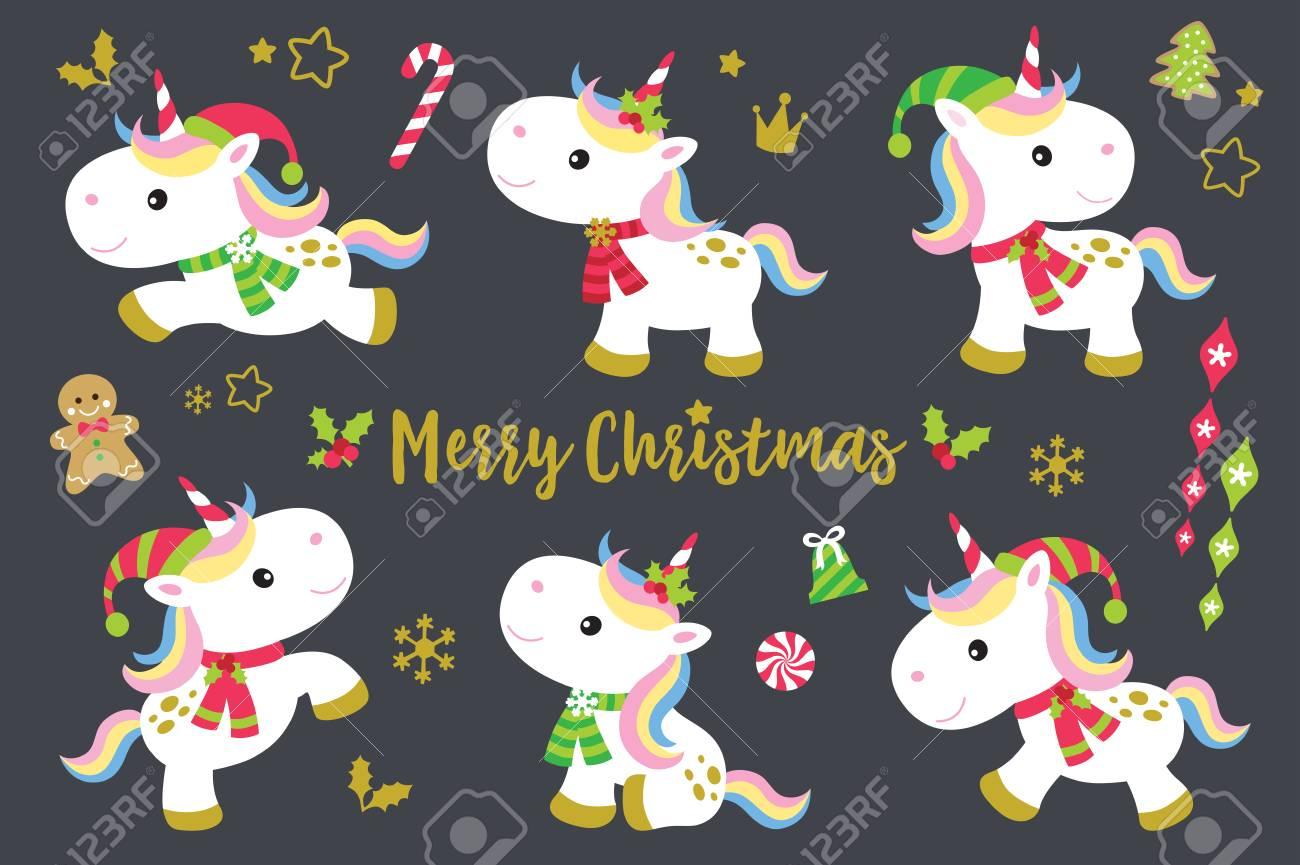 Cute Christmas unicorns vector illustration set plus other decorative Christmas ornaments. - 89105569
