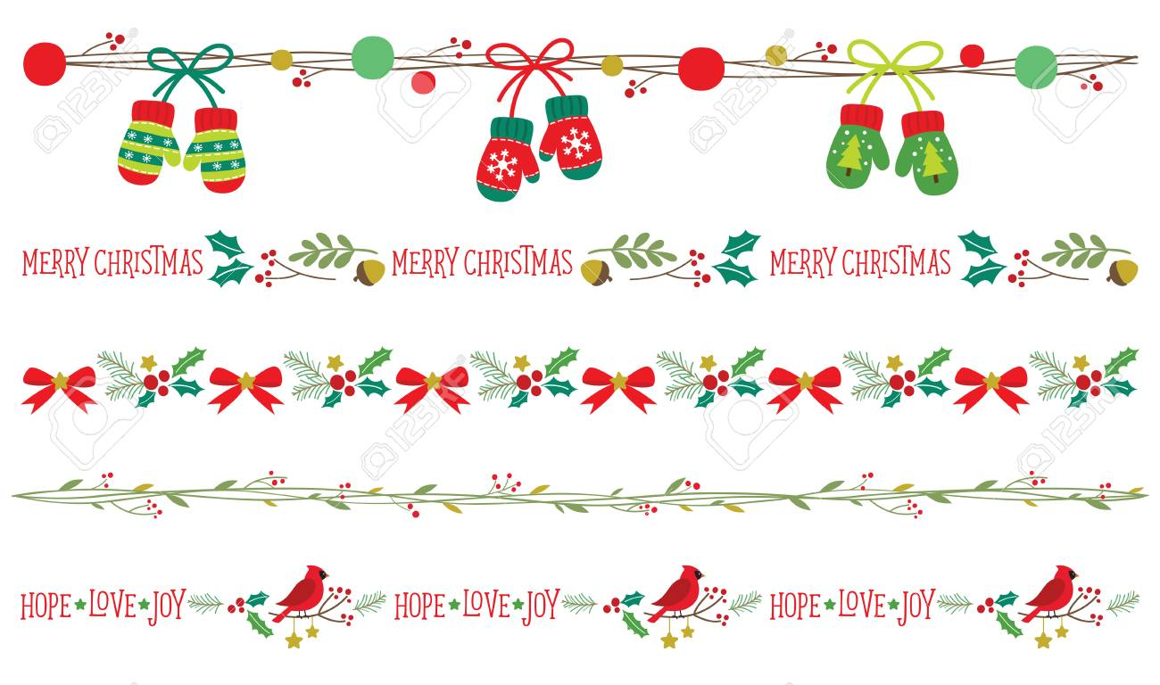 シームレスなクリスマス飾り枠ベクター イラスト セット のイラスト素材 ベクタ Image