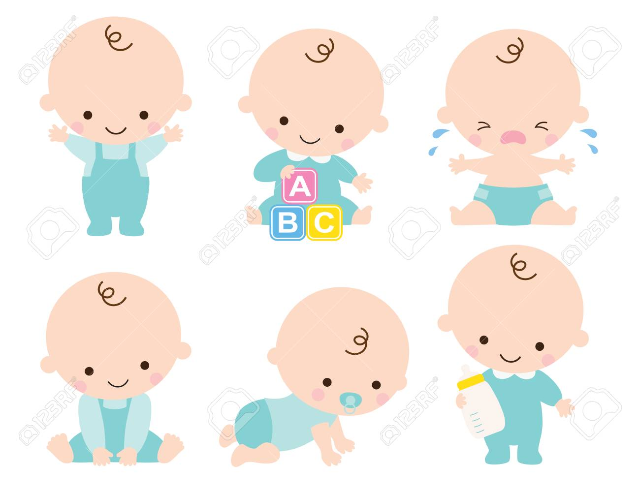 Cute baby or toddler boy illustration in various poses such as standing, sitting, crying, playing, crawling. - 91742460
