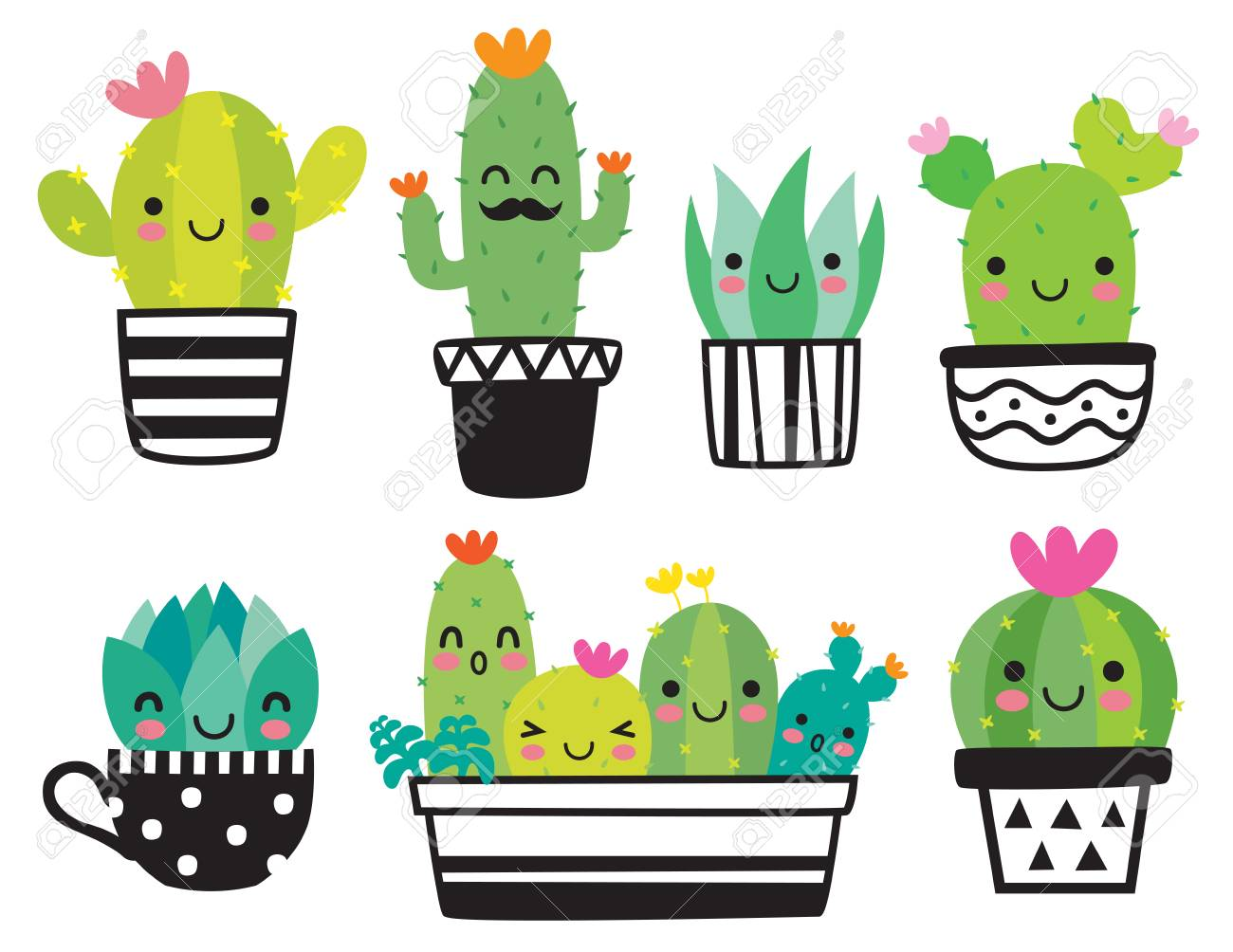 Cute Succulent Or Cactus Plant With Happy Face Vector Illustration Royalty Free Cliparts Vectors And Stock Illustration Image 94820559