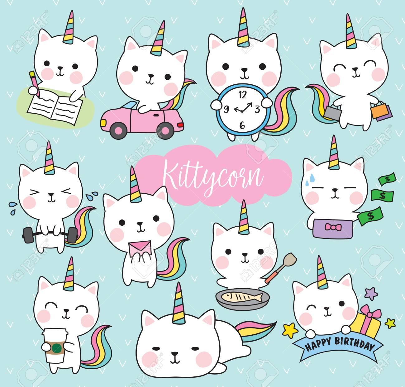 Vector illustration of cute white cat unicorn - 96790501