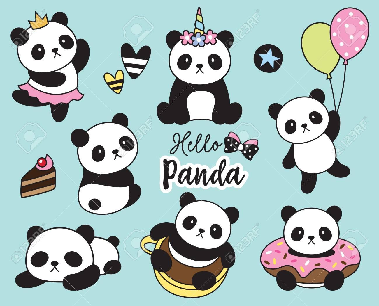 Vector illustration of cute baby panda set. - 103631952