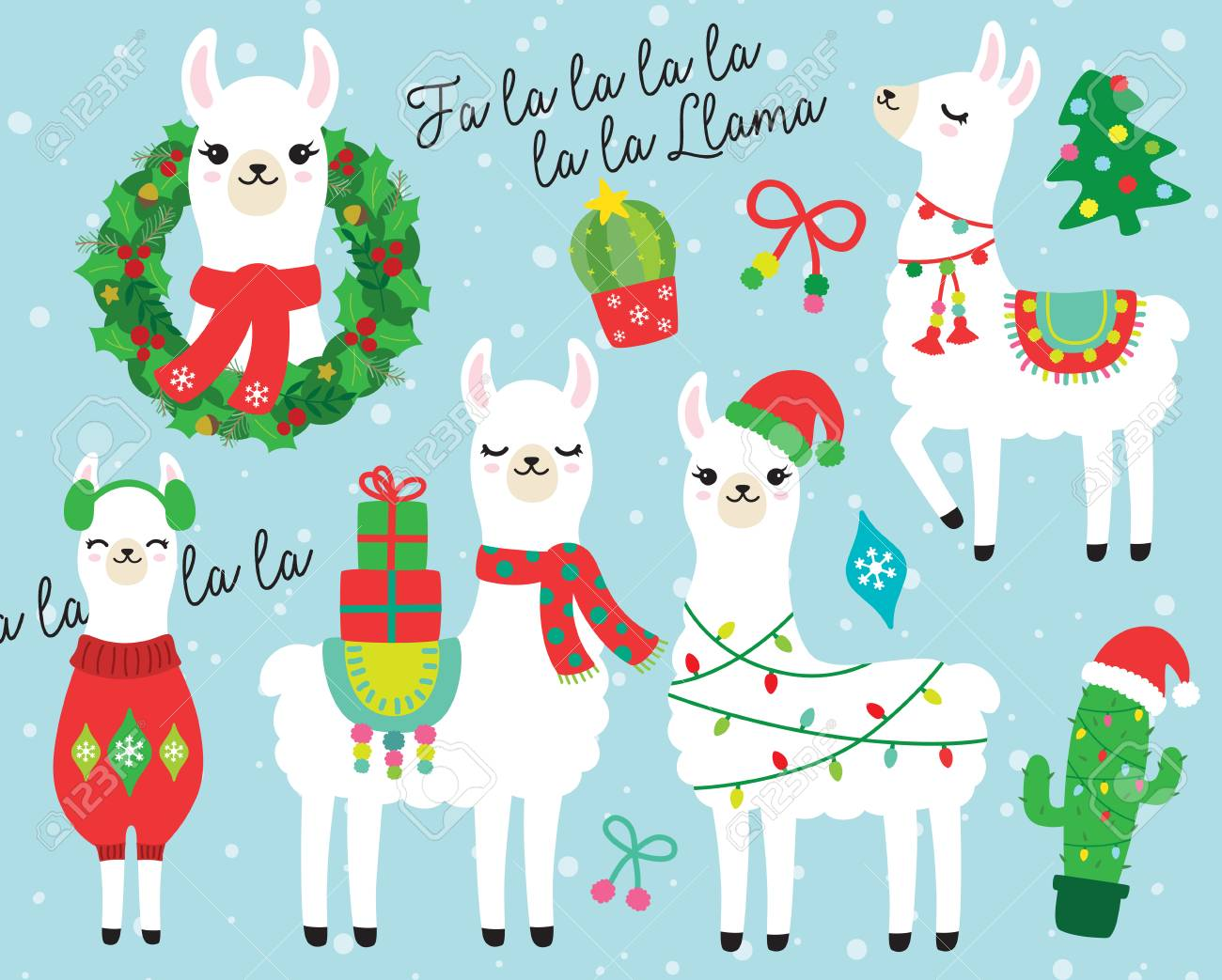 Llama Christmas.Cute Llama And Alpaca With Christmas Holidays Theme Vector Illustration