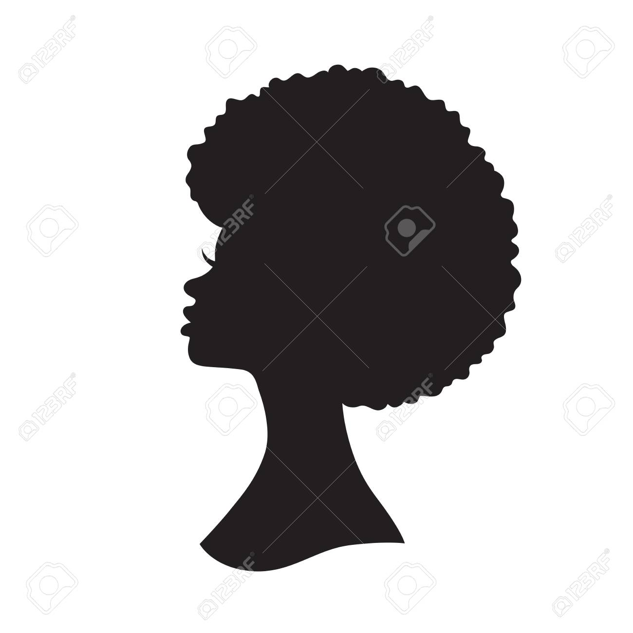 Vector illustration of black woman with afro hair silhouette. Side view of African American woman with natural hair. - 109837271