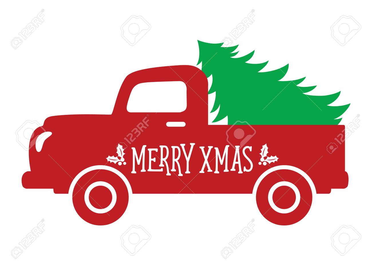 Old Truck With Christmas Tree.Vector Illustration Of An Old Vintage Truck Carrying A Christmas