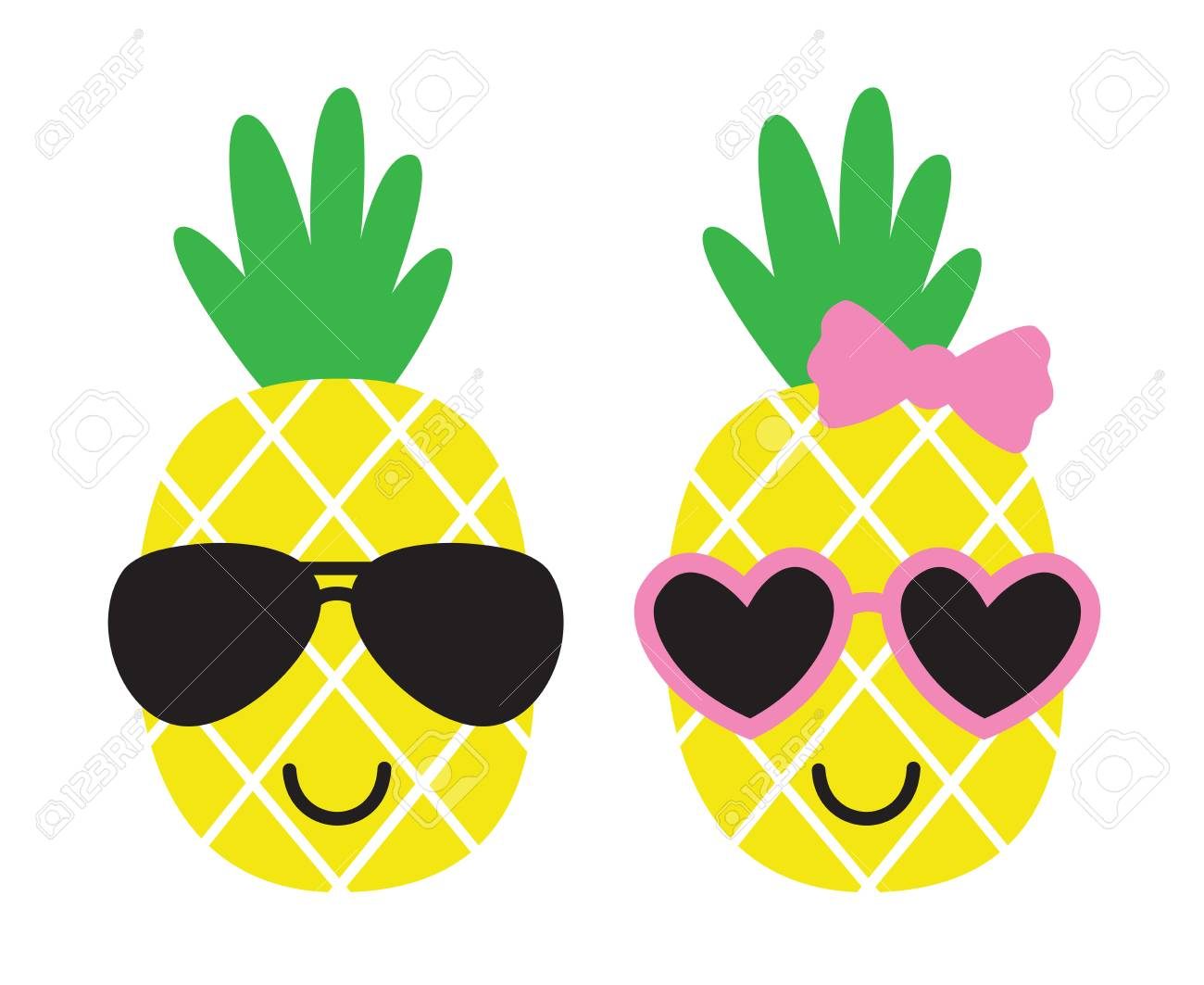124857240 cute pineapples boy and girl wearing sunglasses summer pineapple fruit vector illustration