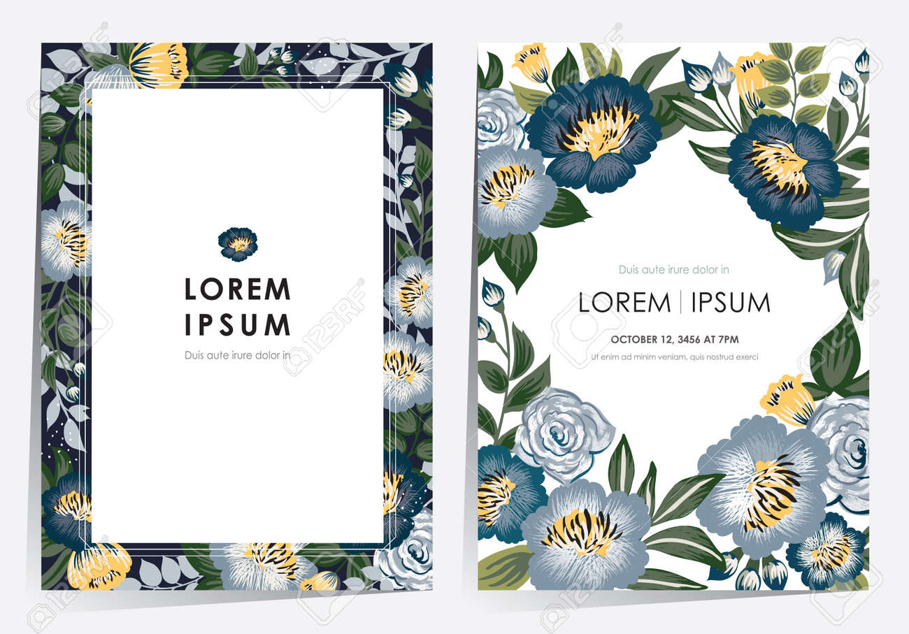 Vector illustration of a floral frame set in spring for Wedding, anniversary, birthday and party. Design for banner, poster, card, invitation and scrapbook - 167841641