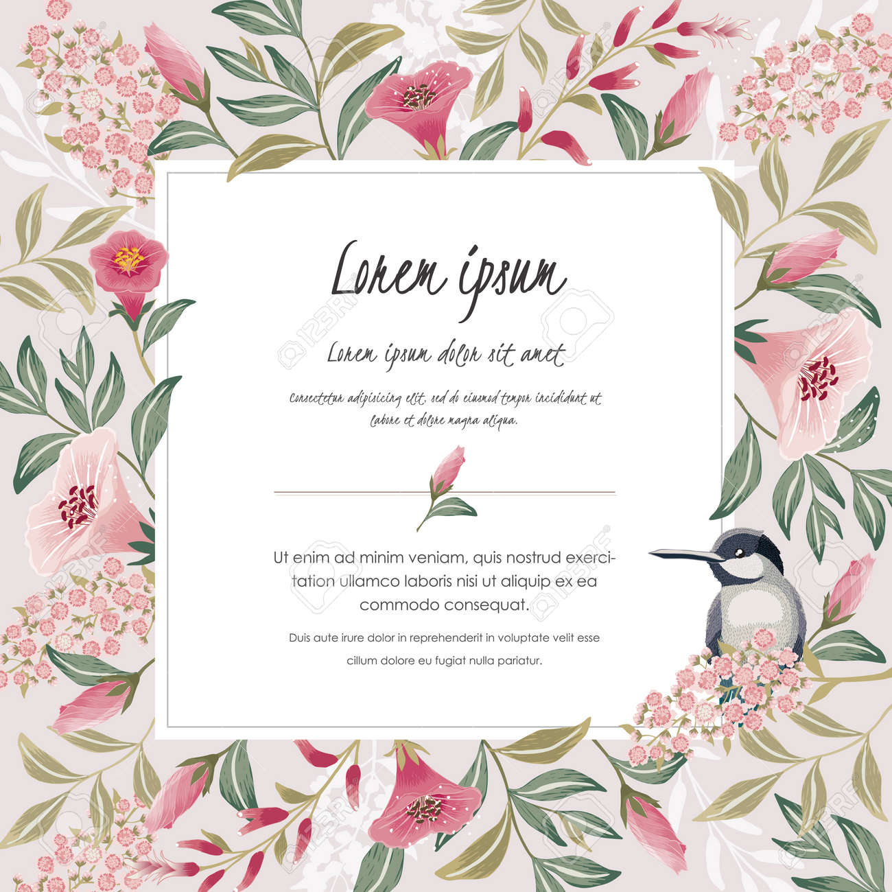 Vector illustration with a cute bird on a floral branch in spring for Wedding, anniversary, birthday and party. Design for banner, poster, card, invitation and scrapbook - 169640765