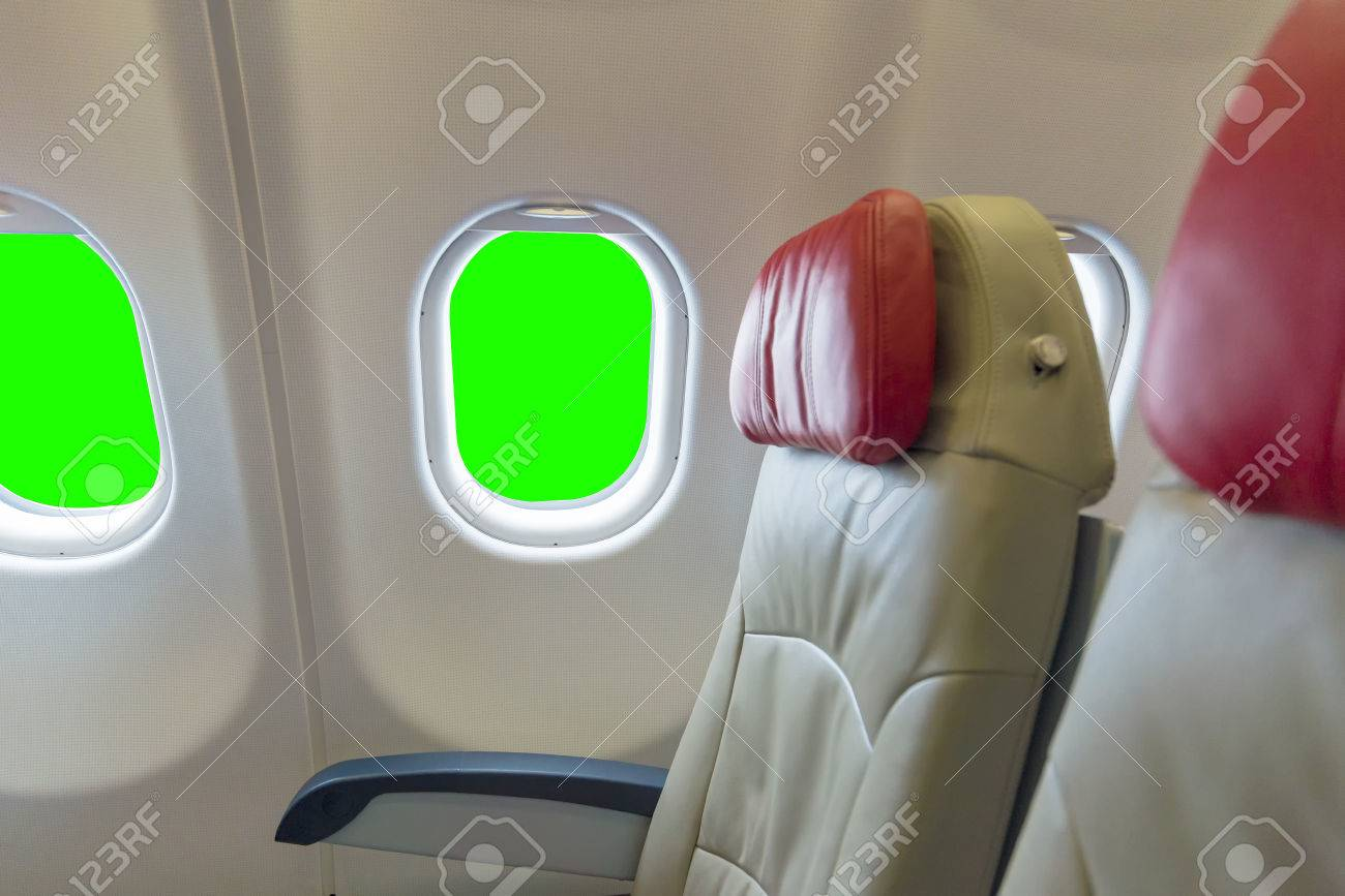 Fantastic Empty Aircraft Seats And Windows Green Screen Background Cjindustries Chair Design For Home Cjindustriesco