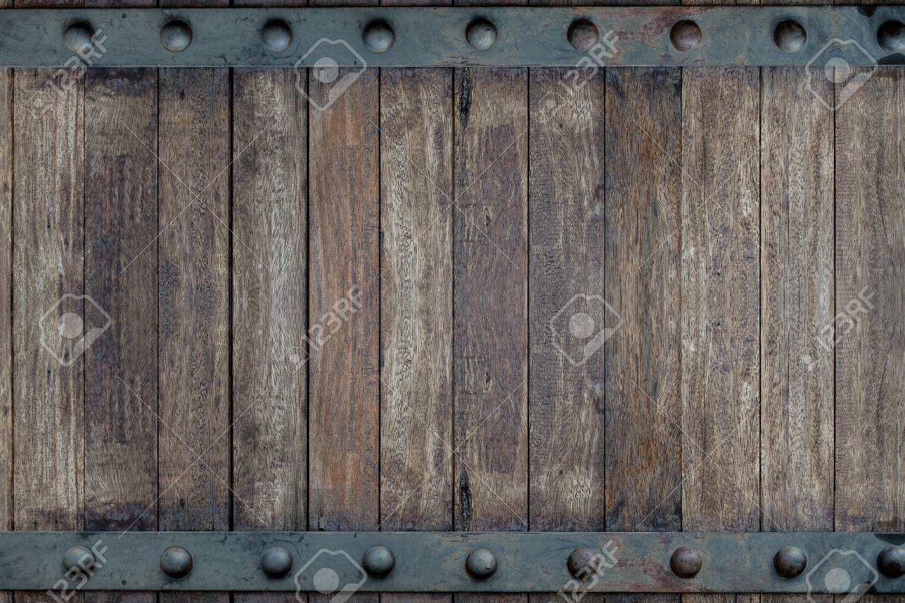 Timber wood brown and Old Metal panels texture background on door design - 106005226